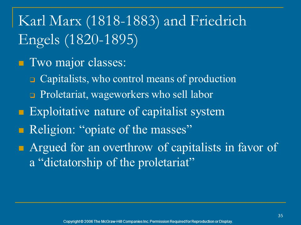 Copyright © 2006 The McGraw-Hill Companies Inc. Permission Required for Reproduction or Display. 35 Karl Marx (1818-1883) and Friedrich Engels (1820-1