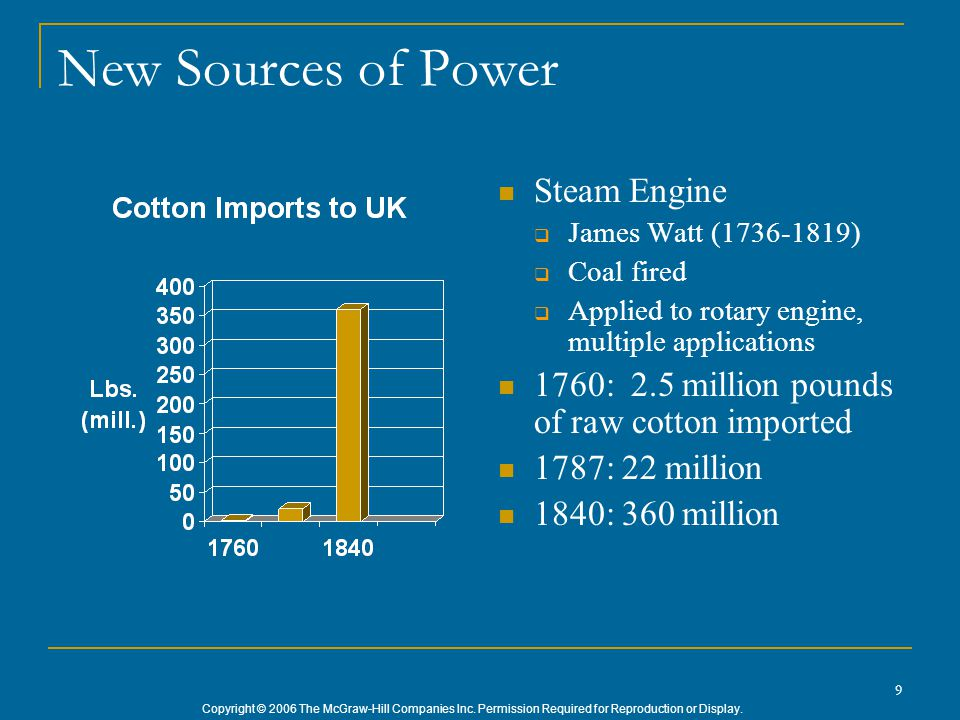 Copyright © 2006 The McGraw-Hill Companies Inc. Permission Required for Reproduction or Display. 9 New Sources of Power Steam Engine  James Watt (173