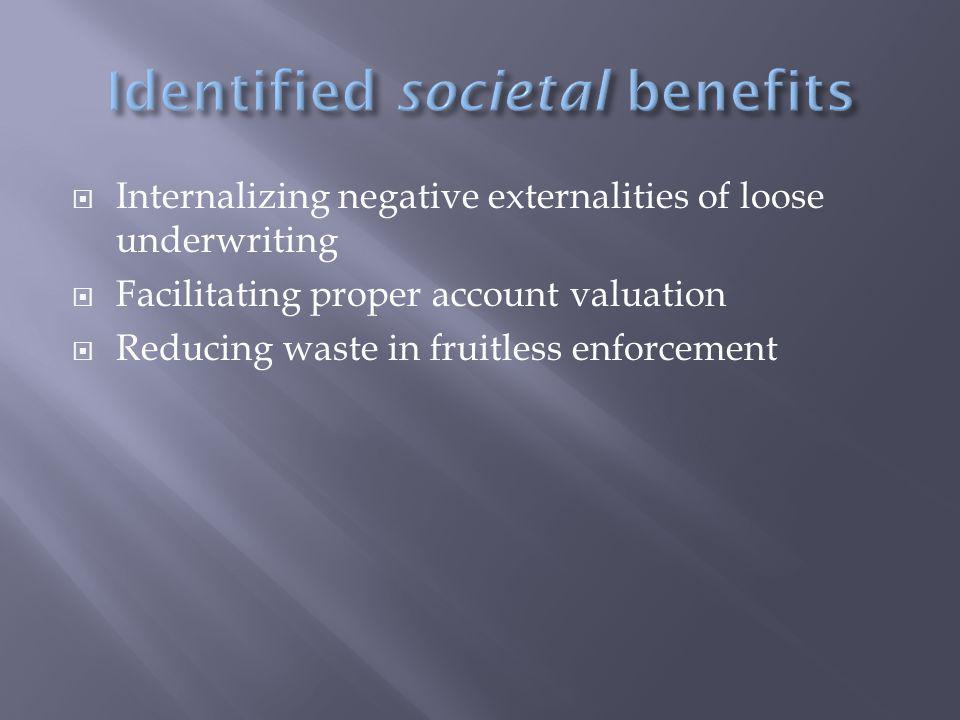  Internalizing negative externalities of loose underwriting  Facilitating proper account valuation  Reducing waste in fruitless enforcement