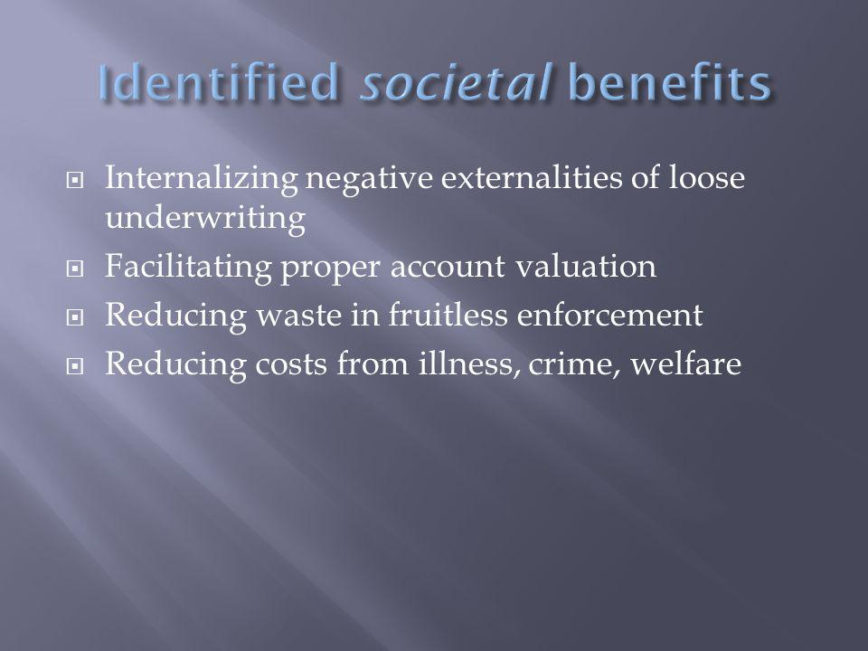  Internalizing negative externalities of loose underwriting  Facilitating proper account valuation  Reducing waste in fruitless enforcement  Reducing costs from illness, crime, welfare