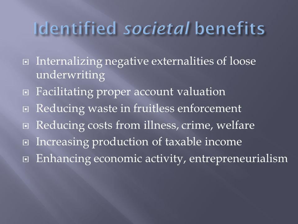  Internalizing negative externalities of loose underwriting  Facilitating proper account valuation  Reducing waste in fruitless enforcement  Reducing costs from illness, crime, welfare  Increasing production of taxable income  Enhancing economic activity, entrepreneurialism