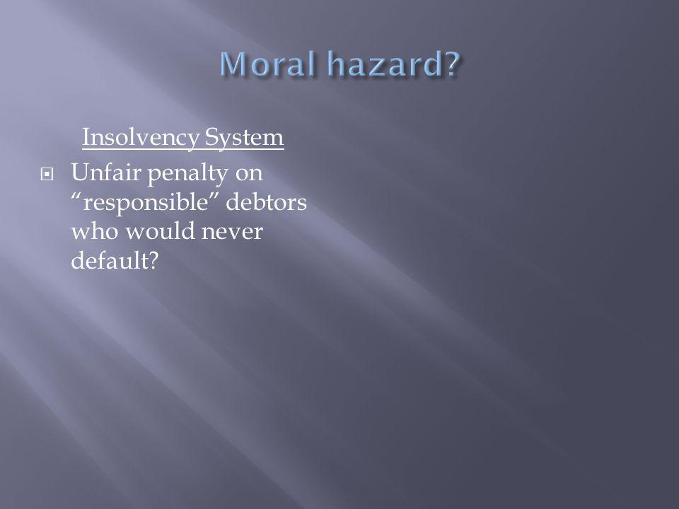 Insolvency System  Unfair penalty on responsible debtors who would never default