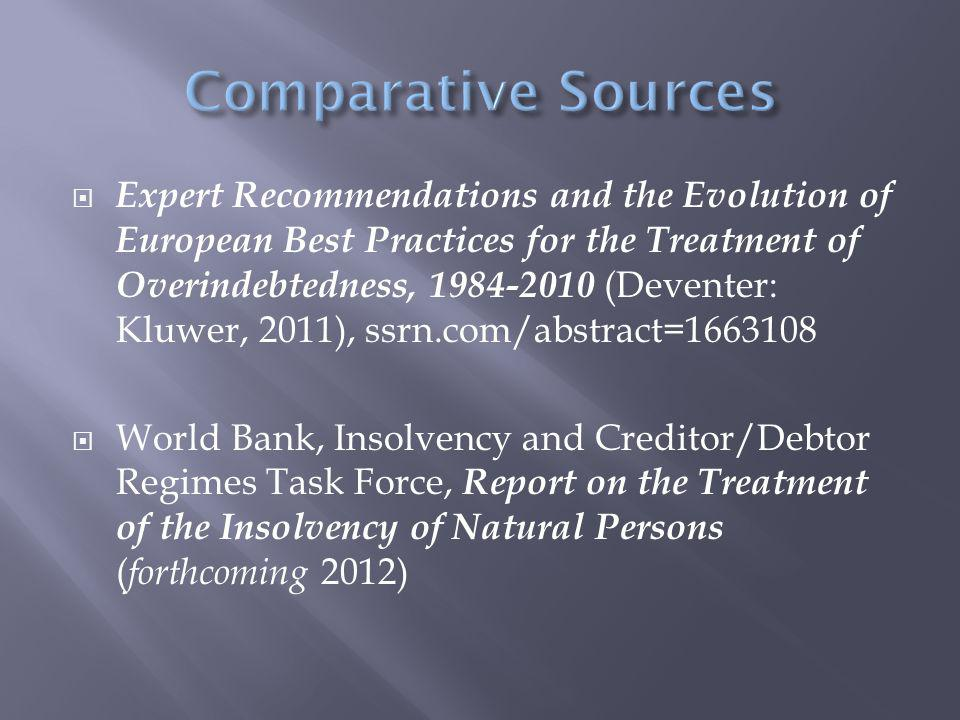  Expert Recommendations and the Evolution of European Best Practices for the Treatment of Overindebtedness, 1984-2010 (Deventer: Kluwer, 2011), ssrn.com/abstract=1663108  World Bank, Insolvency and Creditor/Debtor Regimes Task Force, Report on the Treatment of the Insolvency of Natural Persons ( forthcoming 2012)