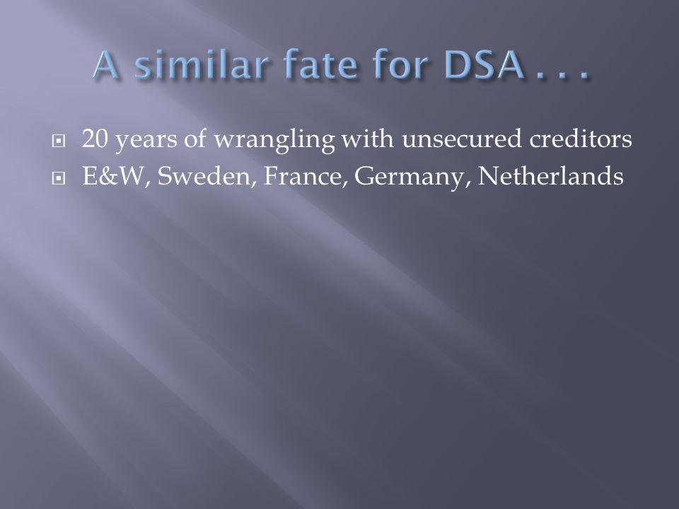  20 years of wrangling with unsecured creditors  E&W, Sweden, France, Germany, Netherlands