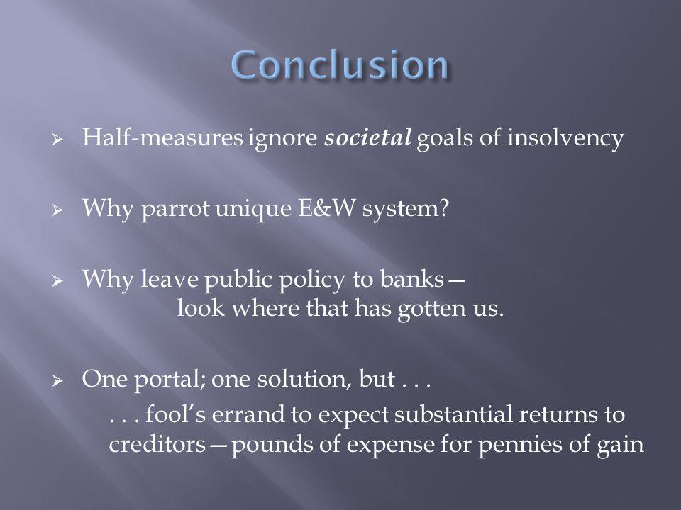  Half-measures ignore societal goals of insolvency  Why parrot unique E&W system.