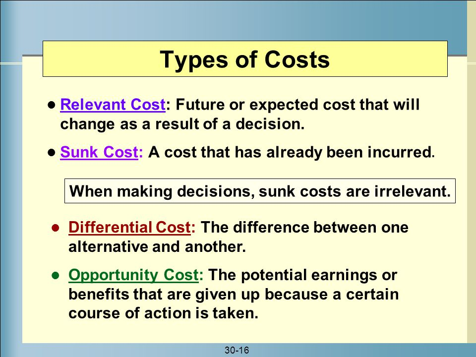30-16 Relevant Cost: Future or expected cost that will change as a result of a decision. Sunk Cost: A cost that has already been incurred. Types of Co
