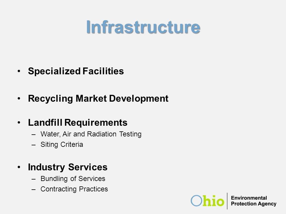 Infrastructure Specialized Facilities Recycling Market Development Landfill Requirements –Water, Air and Radiation Testing –Siting Criteria Industry S