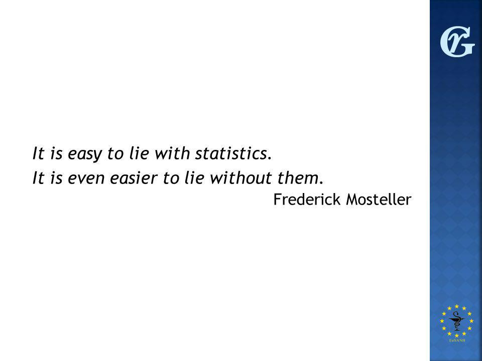 It is easy to lie with statistics. It is even easier to lie without them. Frederick Mosteller