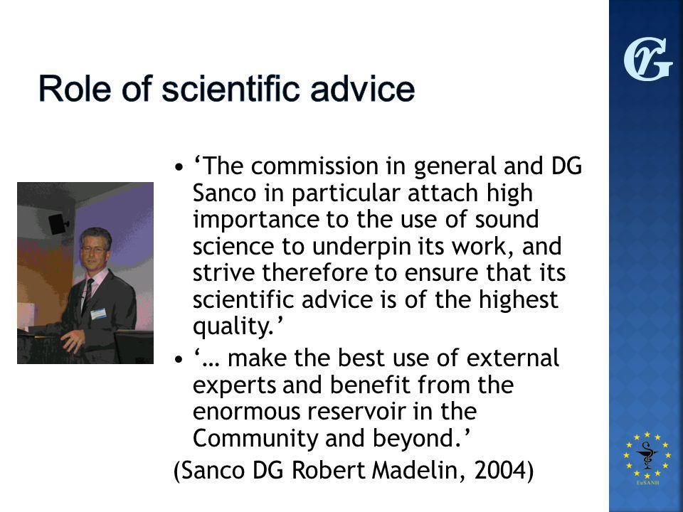 ' The commission in general and DG Sanco in particular attach high importance to the use of sound science to underpin its work, and strive therefore to ensure that its scientific advice is of the highest quality.' '… make the best use of external experts and benefit from the enormous reservoir in the Community and beyond.' (Sanco DG Robert Madelin, 2004)