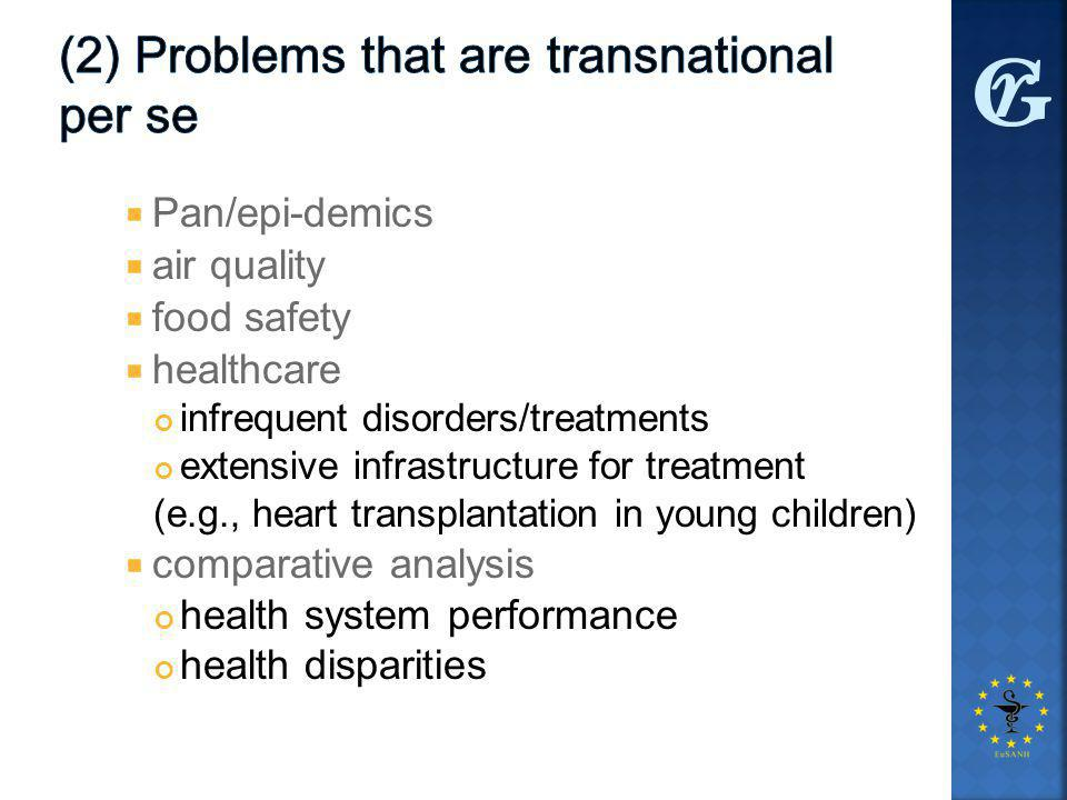  Pan/epi-demics  air quality  food safety  healthcare infrequent disorders/treatments extensive infrastructure for treatment (e.g., heart transplantation in young children)  comparative analysis health system performance health disparities