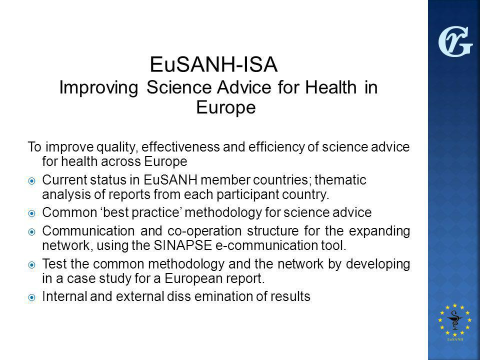 Improving Science Advice for Health in Europe To improve quality, effectiveness and efficiency of science advice for health across Europe  Current status in EuSANH member countries; thematic analysis of reports from each participant country.