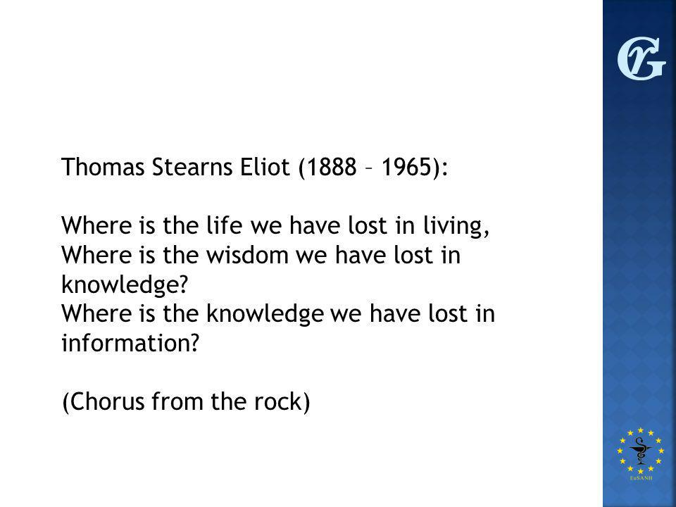 Thomas Stearns Eliot (1888 – 1965): Where is the life we have lost in living, Where is the wisdom we have lost in knowledge.