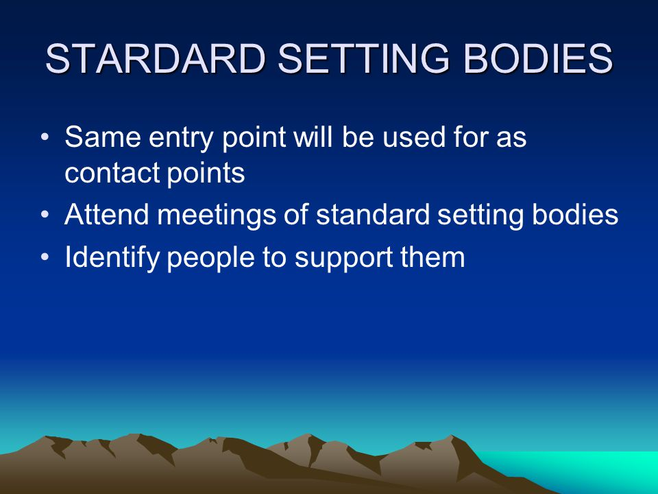 STARDARD SETTING BODIES Same entry point will be used for as contact points Attend meetings of standard setting bodies Identify people to support them
