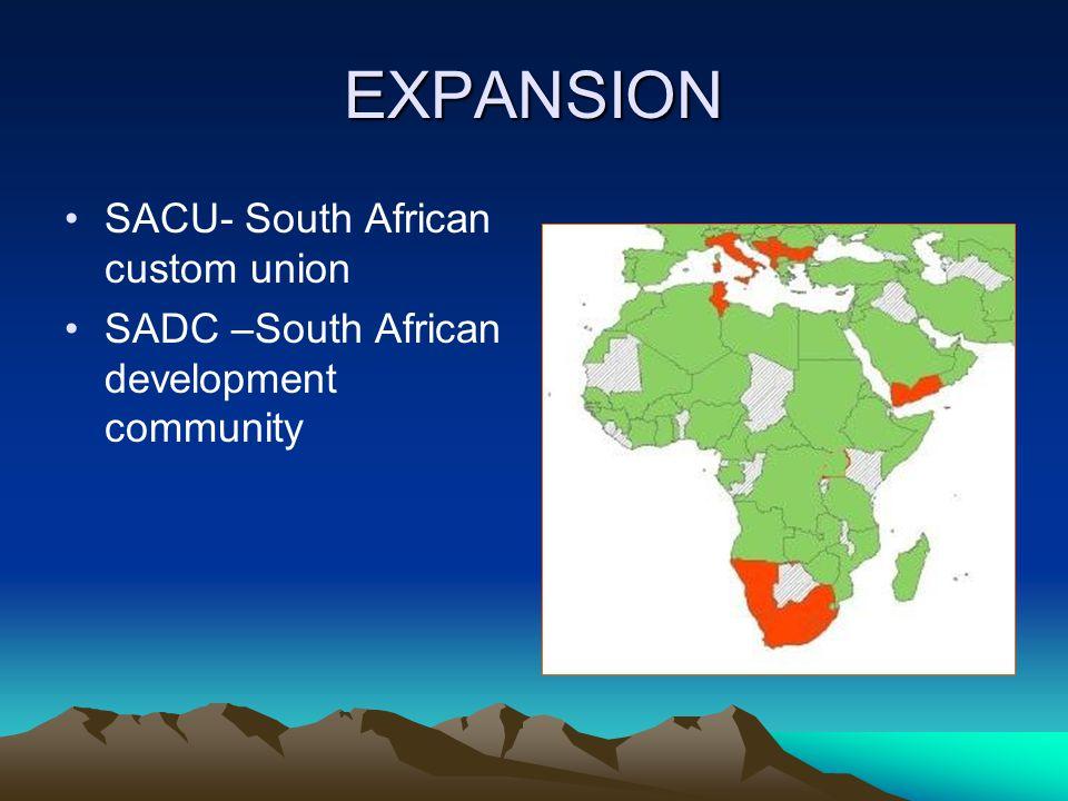 EXPANSION SACU- South African custom union SADC –South African development community
