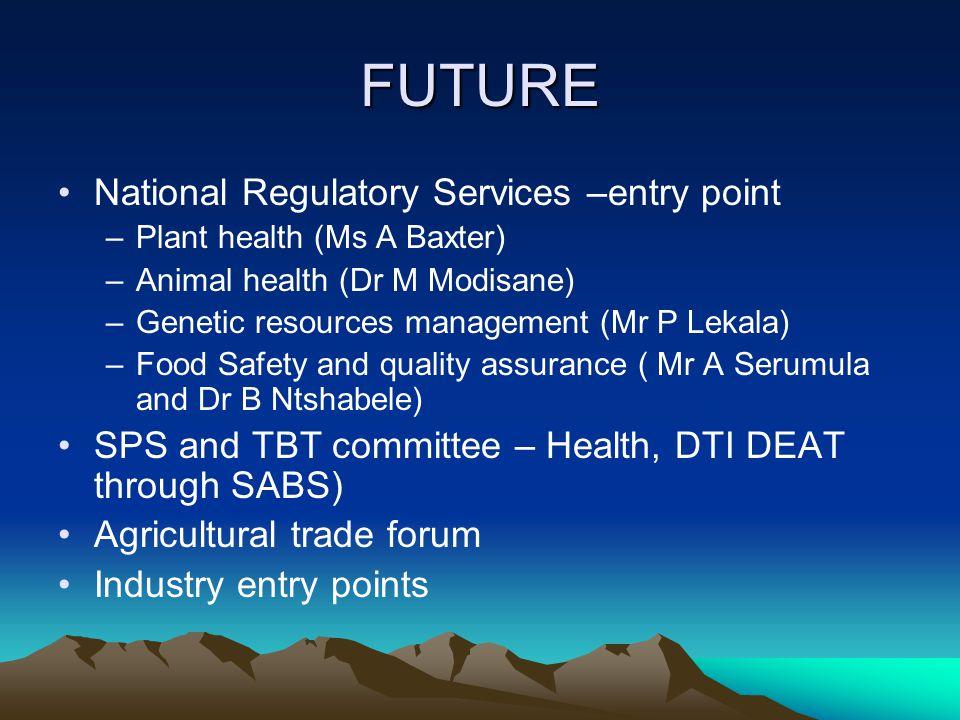 FUTURE National Regulatory Services –entry point –Plant health (Ms A Baxter) –Animal health (Dr M Modisane) –Genetic resources management (Mr P Lekala