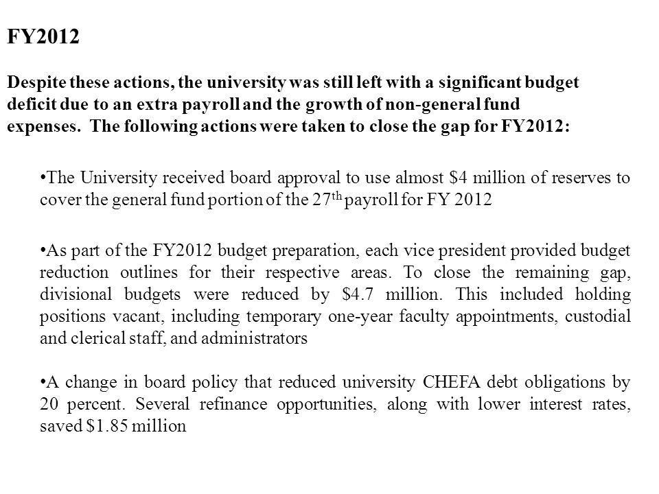 FY2012 Despite these actions, the university was still left with a significant budget deficit due to an extra payroll and the growth of non-general fund expenses.