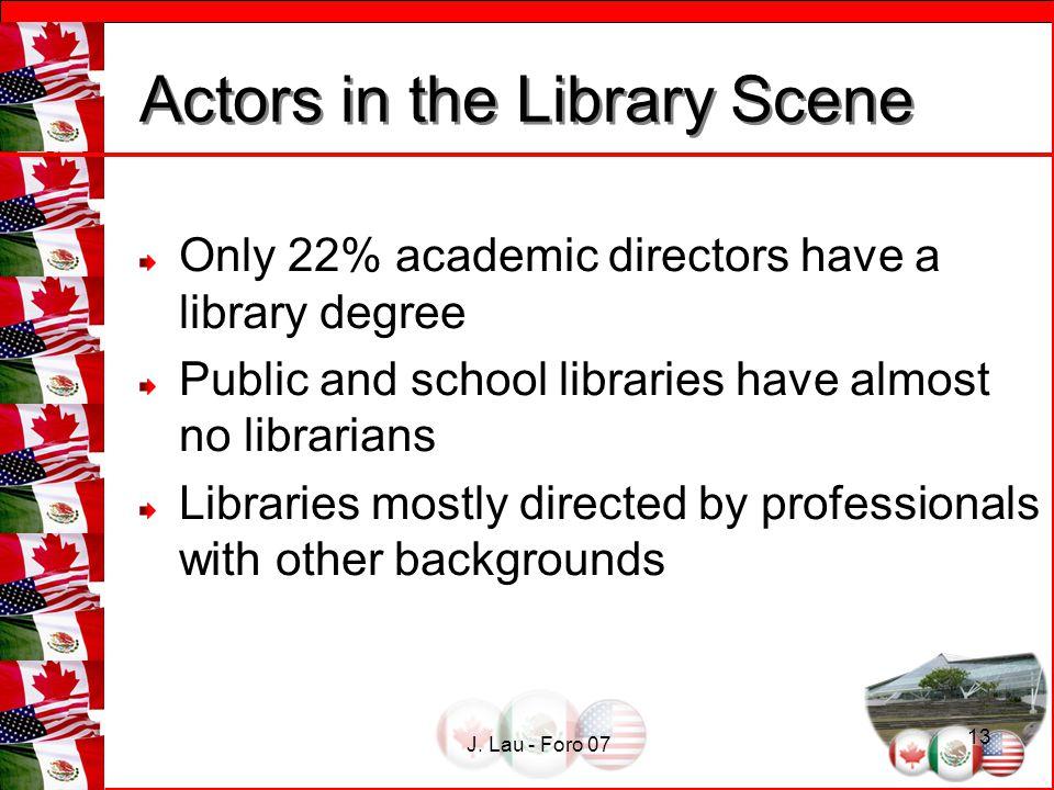 J. Lau - Foro 07 13 Actors in the Library Scene Actors in the Library Scene Only 22% academic directors have a library degree Public and school librar