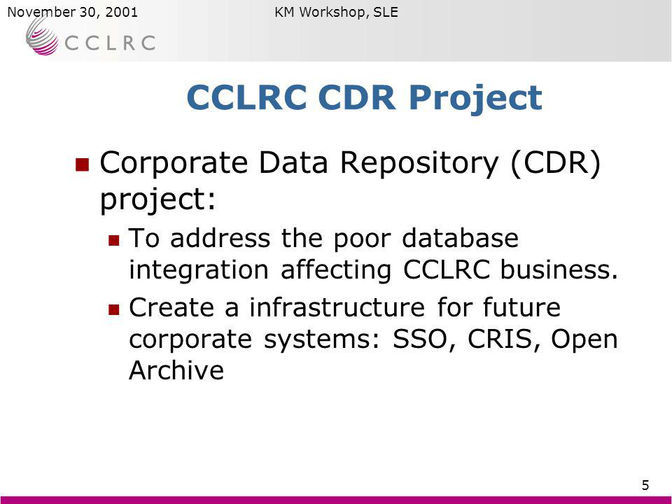 Brian MatthewsNovember 30, 2001KM Workshop, SLE 5 CCLRC CDR Project Corporate Data Repository (CDR) project: To address the poor database integration affecting CCLRC business.