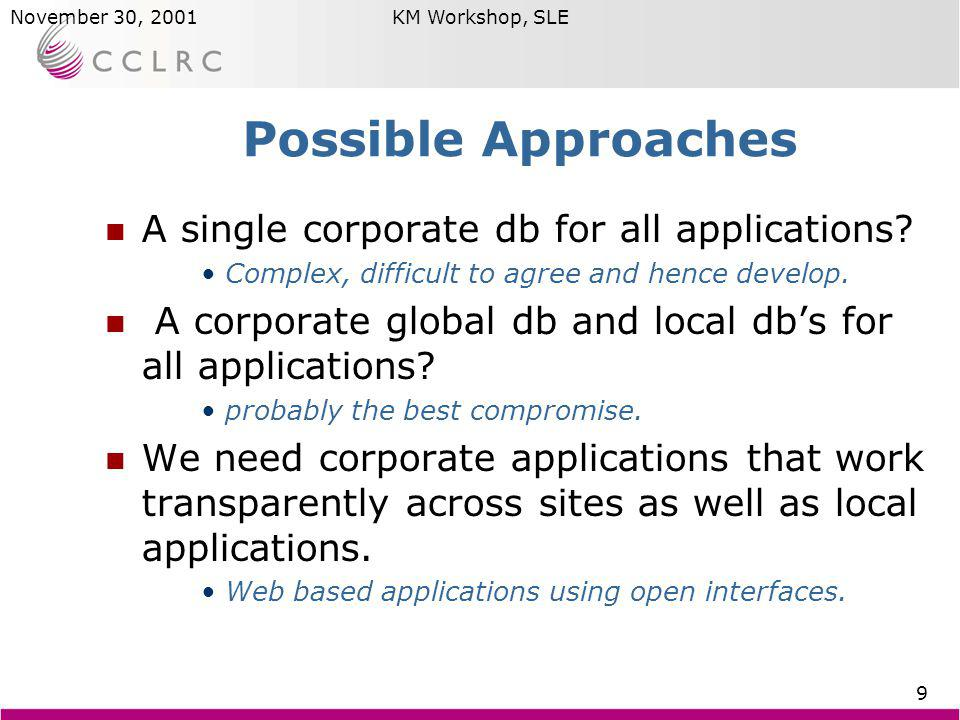 Brian MatthewsNovember 30, 2001KM Workshop, SLE 9 Possible Approaches A single corporate db for all applications? Complex, difficult to agree and henc