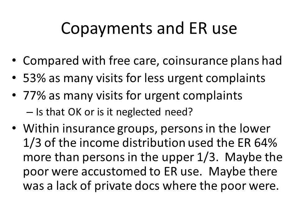 Copayments and ER use Compared with free care, coinsurance plans had 53% as many visits for less urgent complaints 77% as many visits for urgent complaints – Is that OK or is it neglected need.