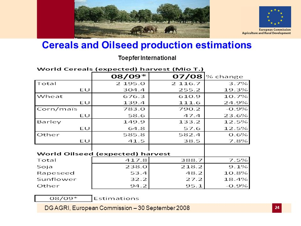 DG AGRI, European Commission – 30 September 2008 24 Cereals and Oilseed production estimations Toepfer International