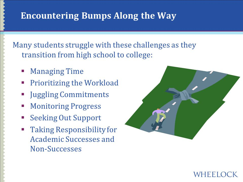 Encountering Bumps Along the Way Many students struggle with these challenges as they transition from high school to college:  Managing Time  Prioritizing the Workload  Juggling Commitments  Monitoring Progress  Seeking Out Support  Taking Responsibility for Academic Successes and Non-Successes