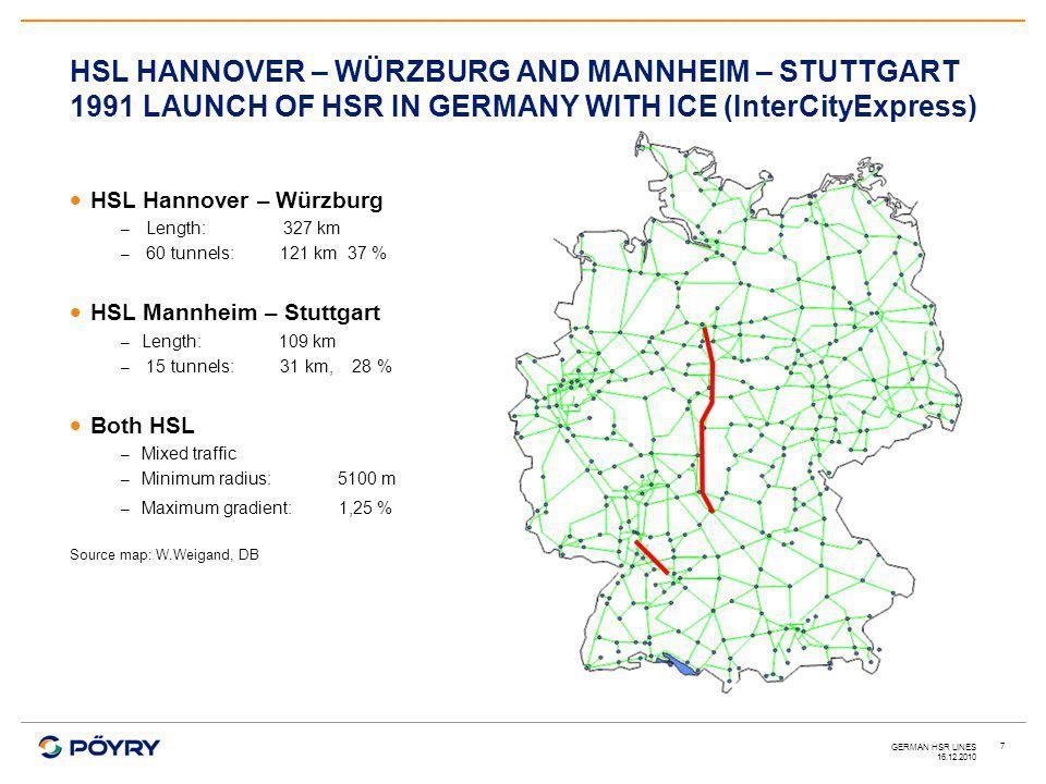 16.12.2010 GERMAN HSR LINES 7  HSL Hannover – Würzburg – Length: 327 km – 60 tunnels: 121 km 37 %  HSL Mannheim – Stuttgart – Length:109 km – 15 tunnels: 31 km, 28 %  Both HSL – Mixed traffic – Minimum radius: 5100 m – Maximum gradient: 1,25 % Source map: W.Weigand, DB HSL HANNOVER – WÜRZBURG AND MANNHEIM – STUTTGART 1991 LAUNCH OF HSR IN GERMANY WITH ICE (InterCityExpress)