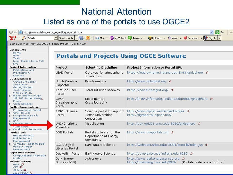 National Attention Listed as one of the portals to use OGCE2