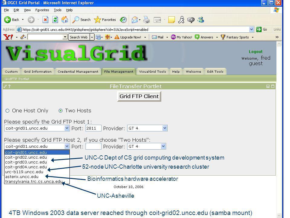 UNC-Asheville Bioinformatics hardware accelerator 52-node UNC-Charlotte university research cluster UNC-C Dept of CS grid computing development system 4TB Windows 2003 data server reached through coit-grid02.uncc.edu (samba mount)