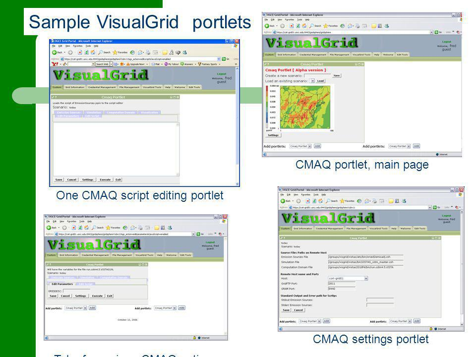 Sample VisualGrid portlets One CMAQ script editing portlet CMAQ portlet, main page CMAQ settings portlet Tabs for various CMAQ actions