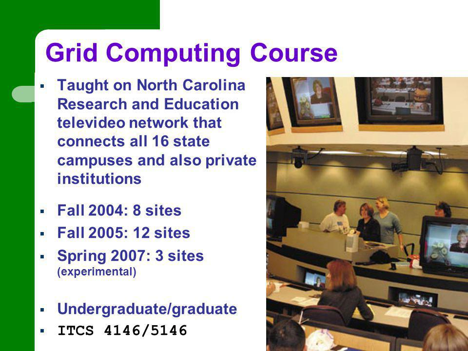 Grid Computing Course  Taught on North Carolina Research and Education televideo network that connects all 16 state campuses and also private institutions  Fall 2004: 8 sites  Fall 2005: 12 sites  Spring 2007: 3 sites (experimental)  Undergraduate/graduate  ITCS 4146/5146