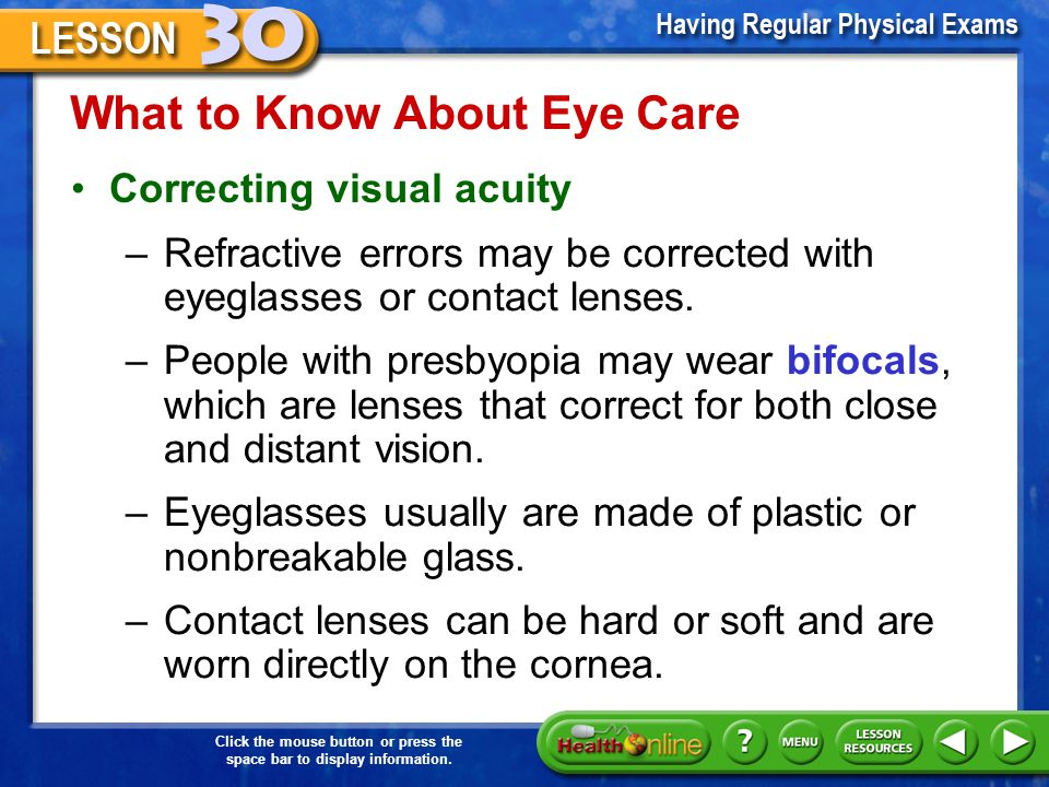 What to Know About Eye Care –Refractive errors include myopia, hyperopia, astigmatism, and presbyopia. With myopia, or nearsightedness, distant object