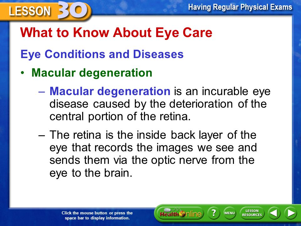 What to Know About Eye Care Eye Conditions and Diseases Cataract –A cataract is the clouding of the lens of the eye that obstructs vision and creates