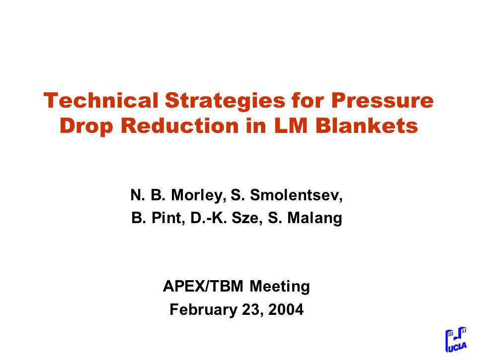 Technical Strategies for Pressure Drop Reduction in LM Blankets N.