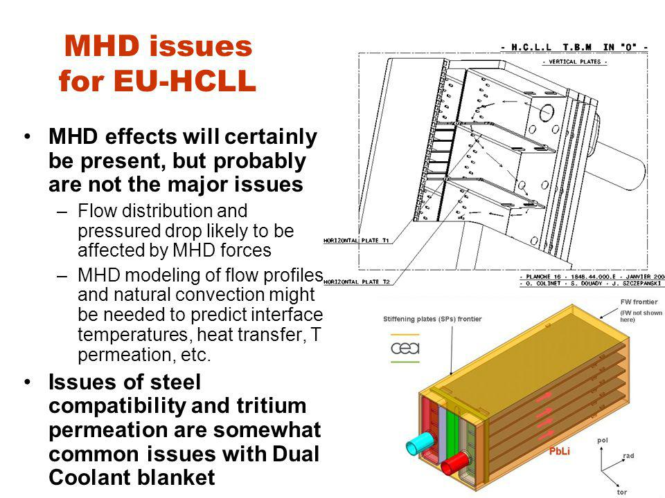 MHD issues for EU-HCLL MHD effects will certainly be present, but probably are not the major issues –Flow distribution and pressured drop likely to be affected by MHD forces –MHD modeling of flow profiles and natural convection might be needed to predict interface temperatures, heat transfer, T permeation, etc.