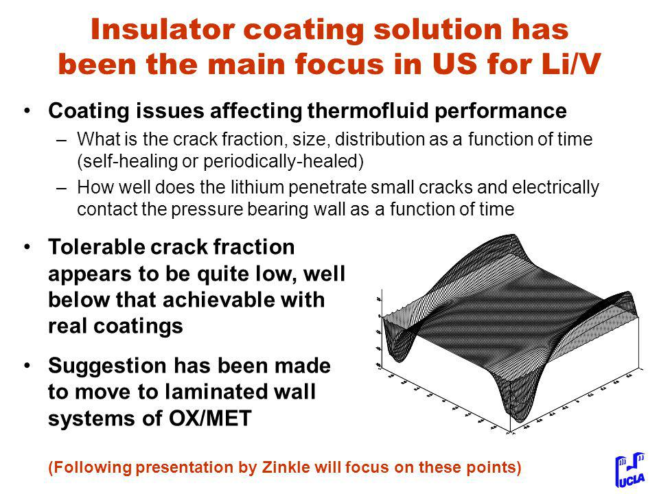 Insulator coating solution has been the main focus in US for Li/V Coating issues affecting thermofluid performance –What is the crack fraction, size, distribution as a function of time (self-healing or periodically-healed) –How well does the lithium penetrate small cracks and electrically contact the pressure bearing wall as a function of time Tolerable crack fraction appears to be quite low, well below that achievable with real coatings Suggestion has been made to move to laminated wall systems of OX/MET (Following presentation by Zinkle will focus on these points)