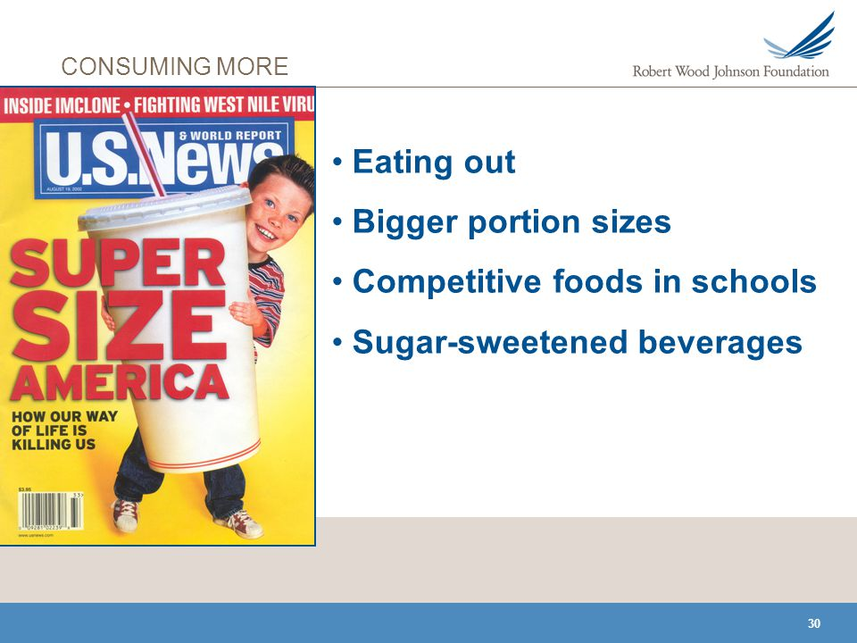 30 CONSUMING MORE Eating out Bigger portion sizes Competitive foods in schools Sugar-sweetened beverages