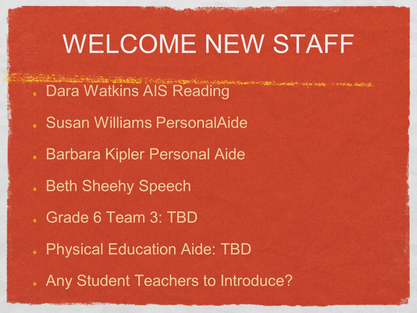 WELCOME NEW STAFF Dara Watkins AIS Reading Susan Williams PersonalAide Barbara Kipler Personal Aide Beth Sheehy Speech Grade 6 Team 3: TBD Physical Education Aide: TBD Any Student Teachers to Introduce?