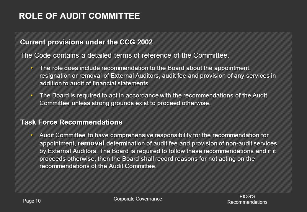 Page 10 Corporate Governance PICG'S Recommendations ROLE OF AUDIT COMMITTEE Current provisions under the CCG 2002 The Code contains a detailed terms of reference of the Committee.