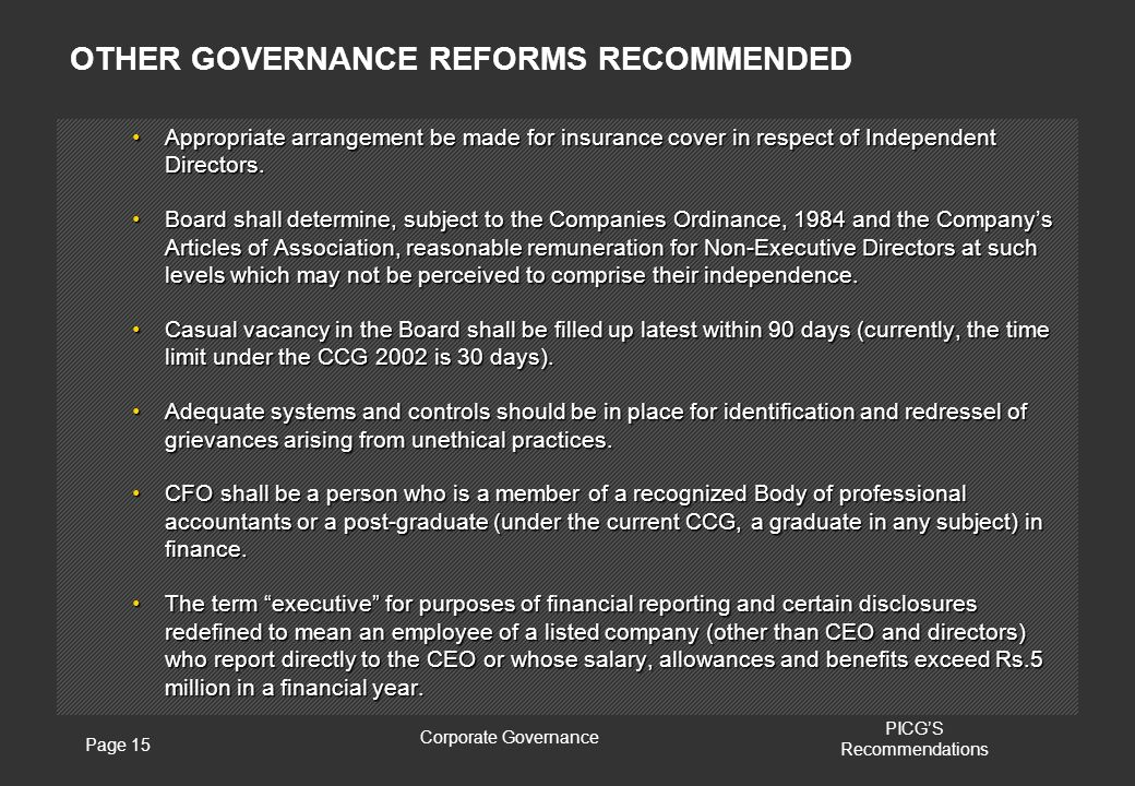 Page 15 Corporate Governance PICG'S Recommendations Appropriate arrangement be made for insurance cover in respect of Independent Directors.Appropriate arrangement be made for insurance cover in respect of Independent Directors.