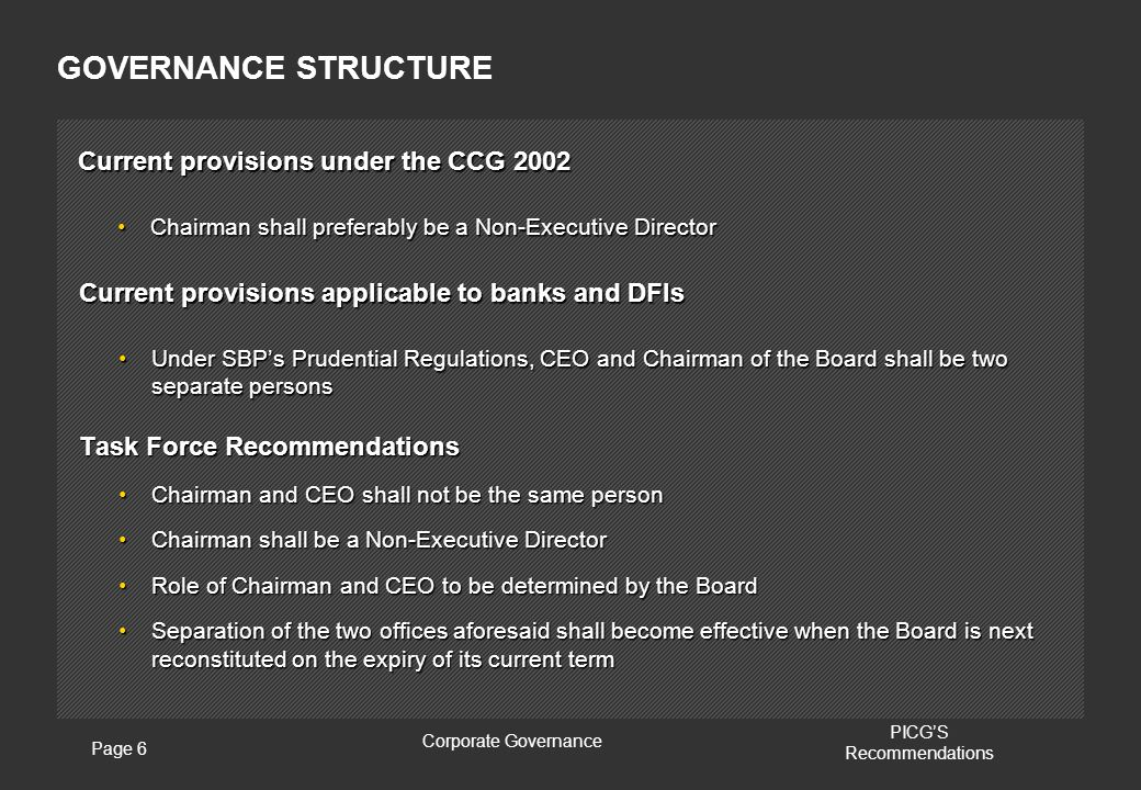 Page 6 Corporate Governance PICG'S Recommendations Current provisions under the CCG 2002 Chairman shall preferably be a Non-Executive DirectorChairman shall preferably be a Non-Executive Director GOVERNANCE STRUCTURE Current provisions applicable to banks and DFIs Under SBP's Prudential Regulations, CEO and Chairman of the Board shall be two separate personsUnder SBP's Prudential Regulations, CEO and Chairman of the Board shall be two separate persons Task Force Recommendations Chairman and CEO shall not be the same personChairman and CEO shall not be the same person Chairman shall be a Non-Executive DirectorChairman shall be a Non-Executive Director Role of Chairman and CEO to be determined by the BoardRole of Chairman and CEO to be determined by the Board Separation of the two offices aforesaid shall become effective when the Board is next reconstituted on the expiry of its current termSeparation of the two offices aforesaid shall become effective when the Board is next reconstituted on the expiry of its current term