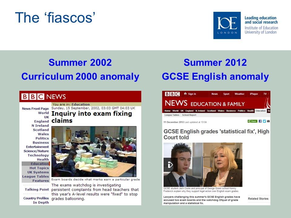 Summer 2012 GCSE English anomaly Summer 2002 Curriculum 2000 anomaly The 'fiascos'