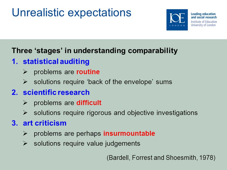 Unrealistic expectations Three 'stages' in understanding comparability 1.statistical auditing  problems are routine  solutions require 'back of the envelope' sums 2.scientific research  problems are difficult  solutions require rigorous and objective investigations 3.art criticism  problems are perhaps insurmountable  solutions require value judgements (Bardell, Forrest and Shoesmith, 1978)