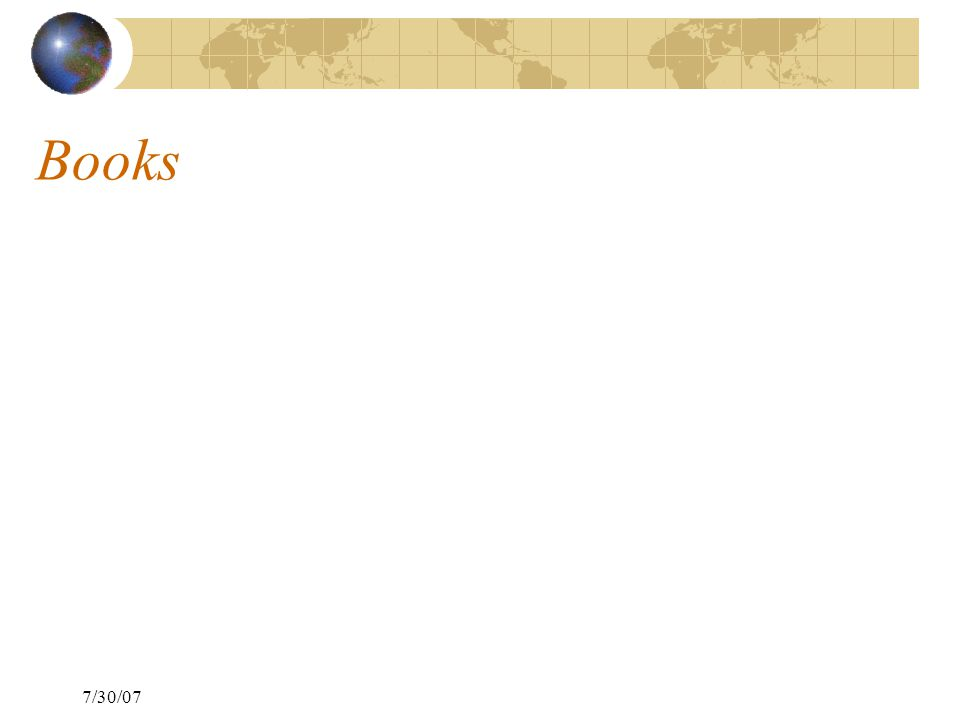 7/30/07 Books