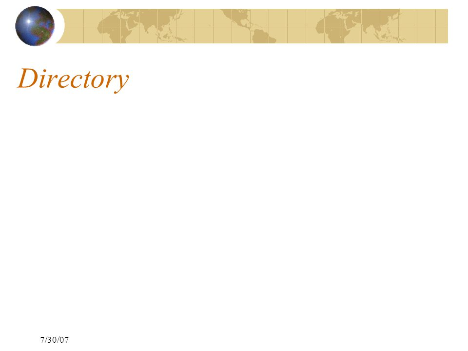 7/30/07 Directory