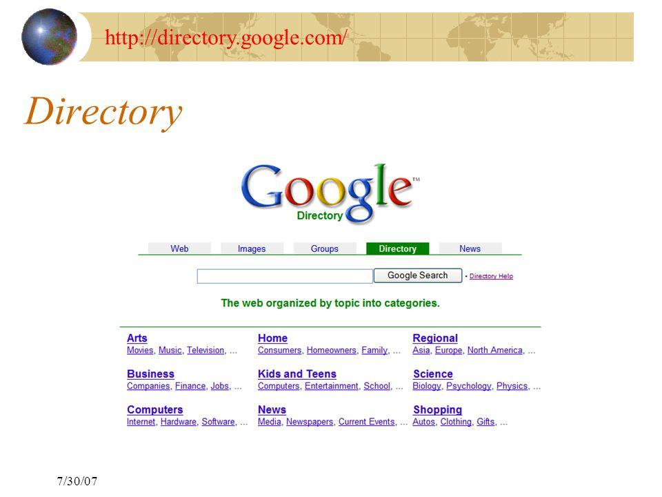 7/30/07 Directory http://directory.google.com/