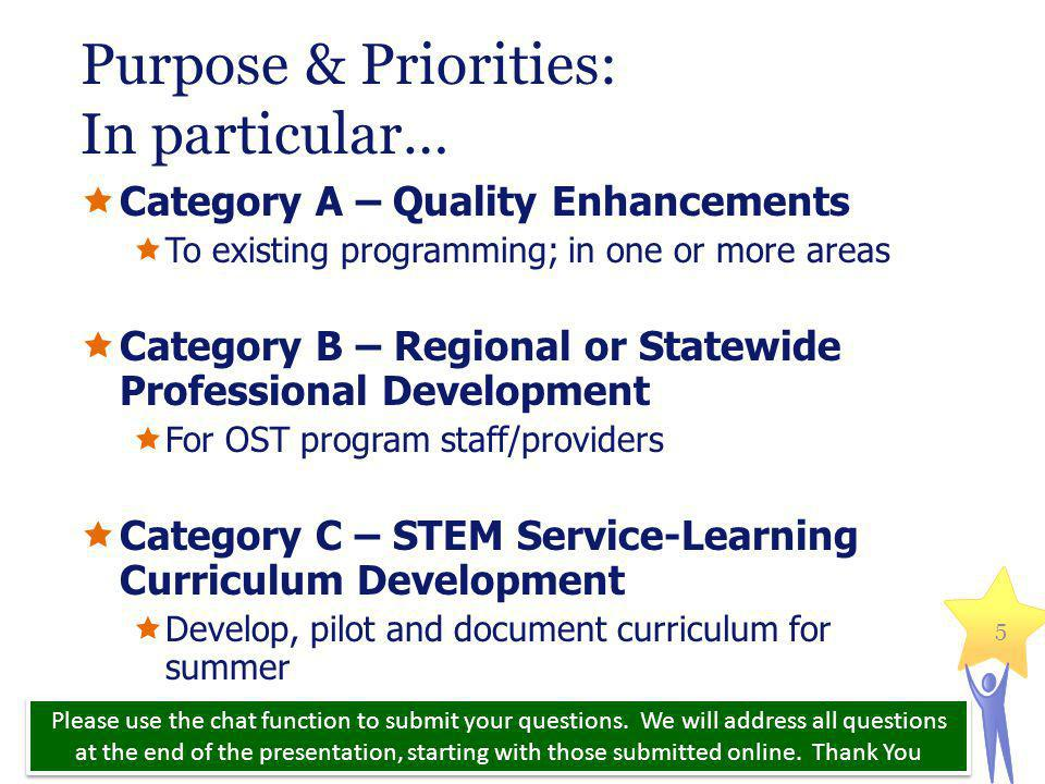 Purpose & Priorities: In particular…  Category A – Quality Enhancements  To existing programming; in one or more areas  Category B – Regional or Statewide Professional Development  For OST program staff/providers  Category C – STEM Service-Learning Curriculum Development  Develop, pilot and document curriculum for summer Massachusetts Department of Elementary and Secondary Education 5 Please use the chat function to submit your questions.