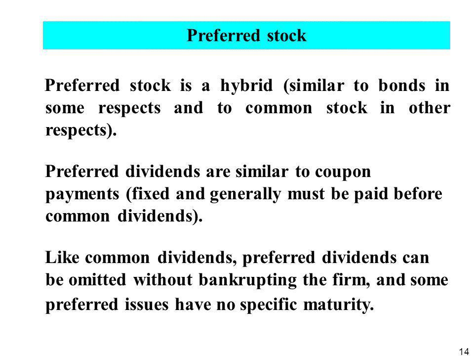 14 Preferred stock is a hybrid (similar to bonds in some respects and to common stock in other respects). Preferred dividends are similar to coupon pa