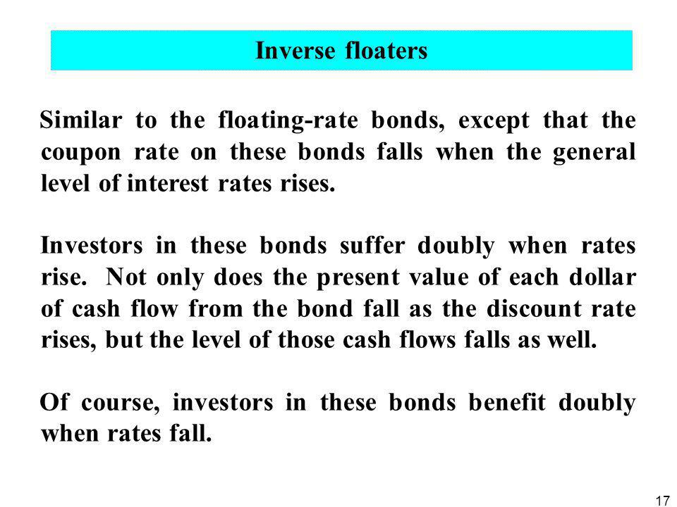 17 Similar to the floating-rate bonds, except that the coupon rate on these bonds falls when the general level of interest rates rises. Investors in t