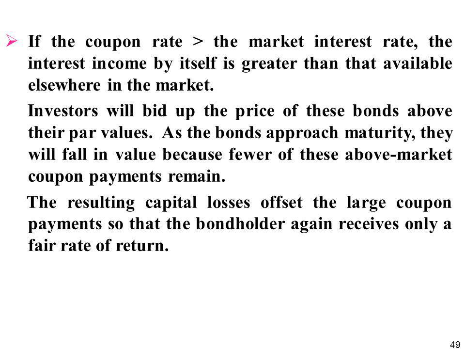 49  If the coupon rate > the market interest rate, the interest income by itself is greater than that available elsewhere in the market.